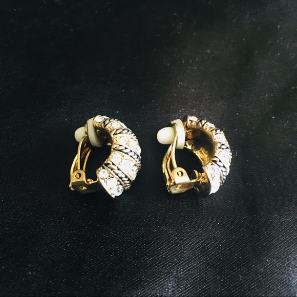 Jewelry - ✨3 for $15✨ Gold And Rhinestone Clip-on Earrings